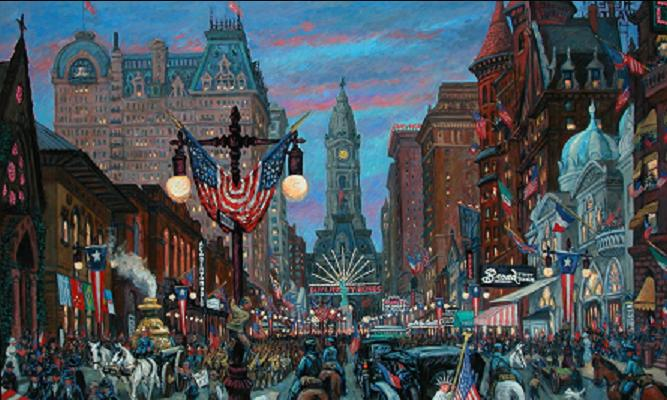 """""""Armistice Day, South Broad Street"""" 48 x 78"""" (sold)"""