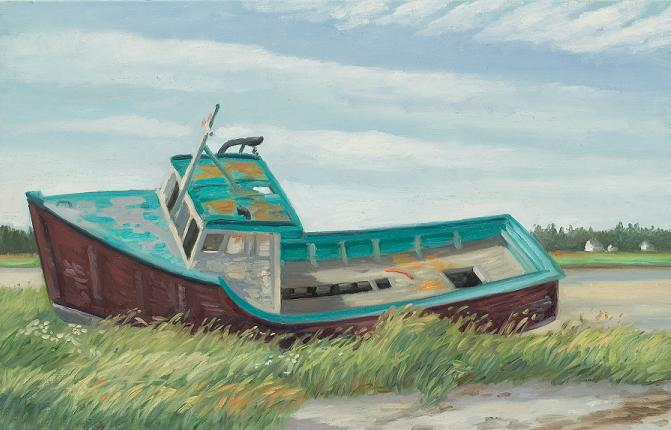 """Old Boat, sable Island, Nova Scotia"" 18 x 32""  (sold)"