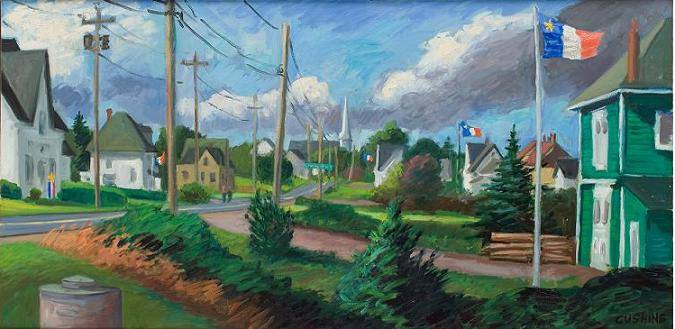 """Acadian Flags, Pubnico, Nova Scotia""  18 x 40""  (sold)"