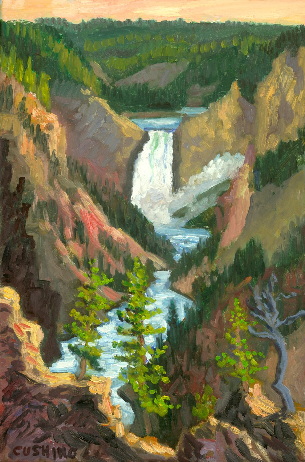 """Last Light, Yellowstone Falls""  18 x 12"" (sold)"