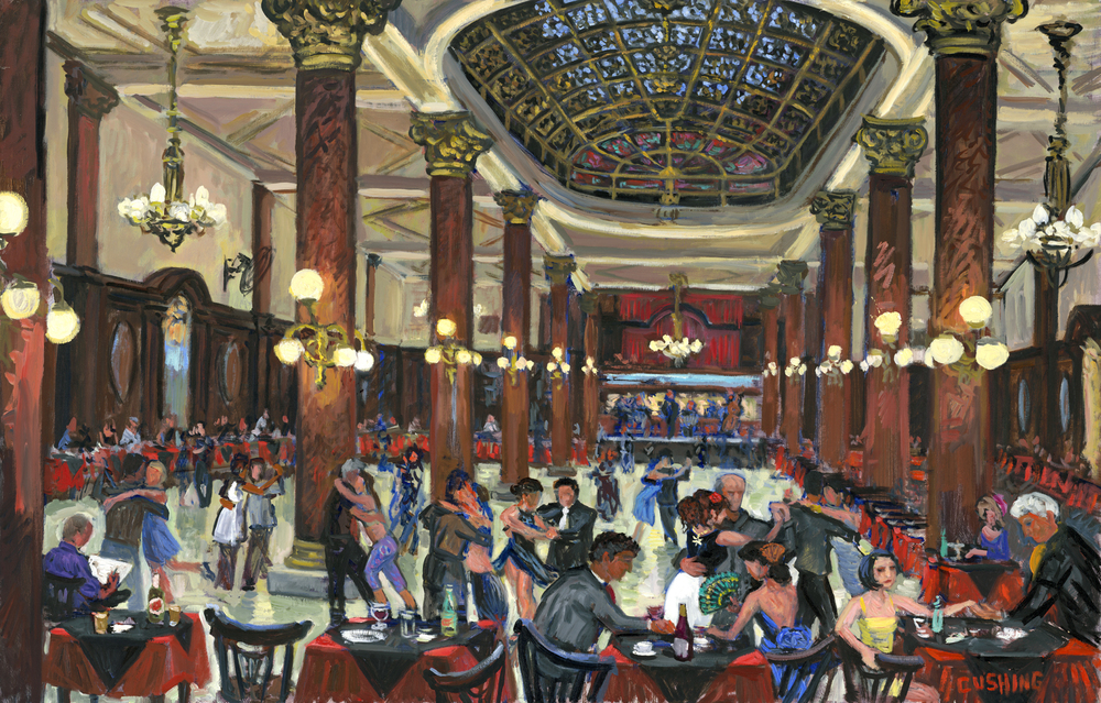 "A large painting depicting tango dancers at ""Cafeteria de la Ideal"" a famous tango venue in Buenos Aires......"