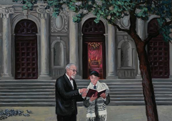 """Rabbi and Pupil""  16 x 30"" (sold)"