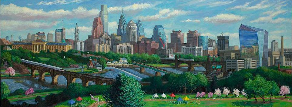 """Philadelphia Skyline with Cira Centre""  36 x 96"" (sold)"