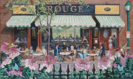 """Lunch at ROUGE""  24 x 40"" (sold)"