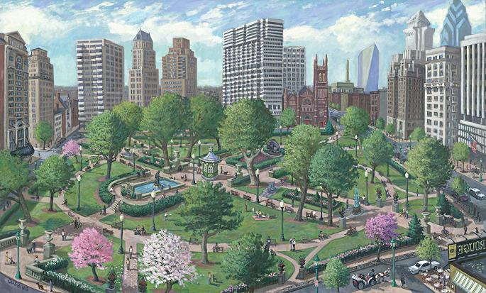 """Rittenhouse Square"" 32 x 52"" (sold)"