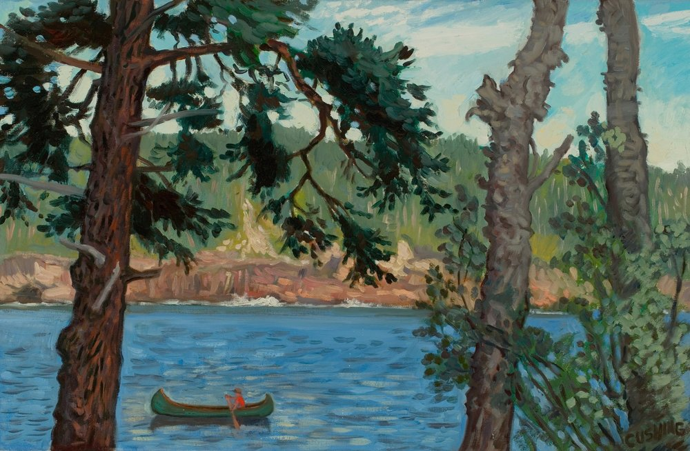 """""""Boy in Red Canoe, Maine""""  18 x 24""""  (sold)"""