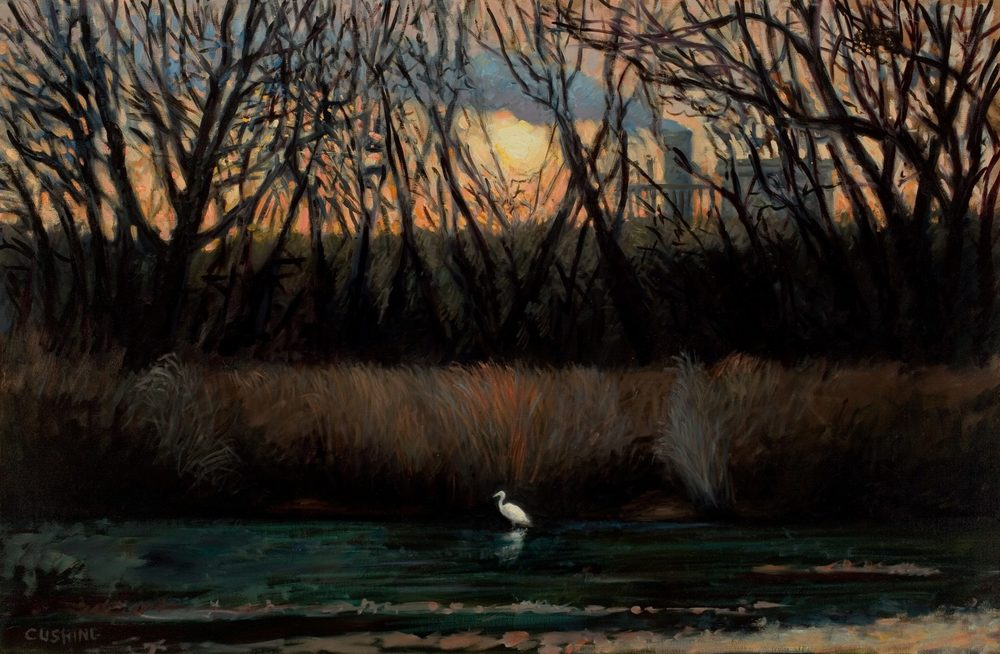 """Solitary Egret, Tinicum Marsh""  32 x 52"" (sold)"
