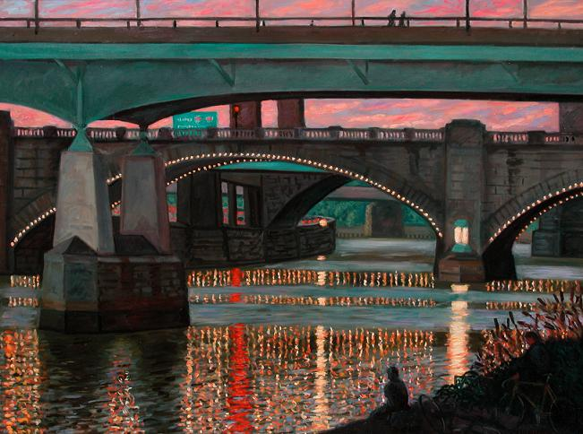 """Bridges and Lights""  30 x 36"" (sold)"