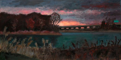 """Sunset, Tinicum Marsh""  36 x 72"" $3500.00"
