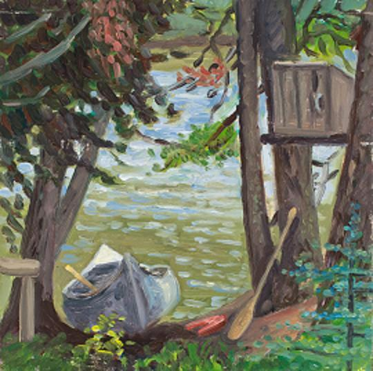 """Canoe, Baxter Park, Maine"" (oil on panel)  12 x 12""  (sold)"