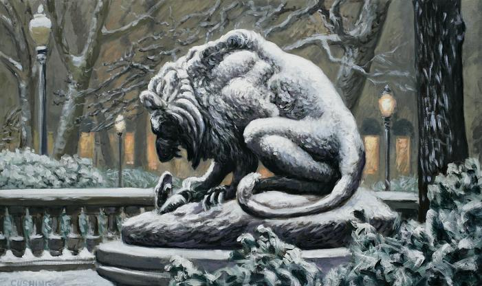 "Barye Lion, Rittenhouse Square"" 30 x 56"" (sold)"
