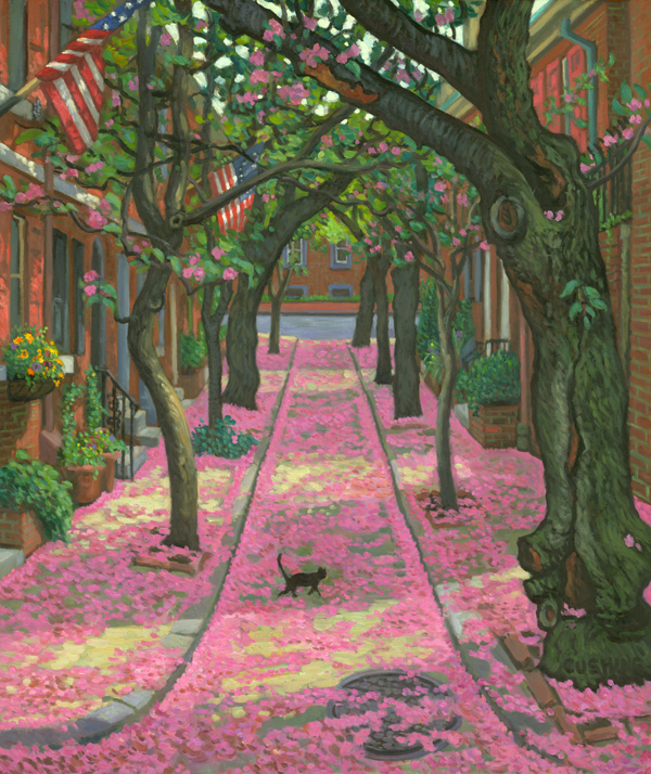 """Black Cat on Pink Snow, Jessup Street""  30 x 24"" (sold)"