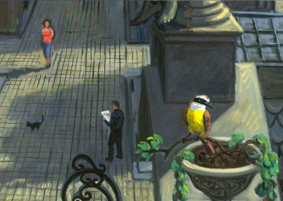 "Drawing in ""el cementerio de las Recoleta, Buenos Aires"" (detail from a large painting)"
