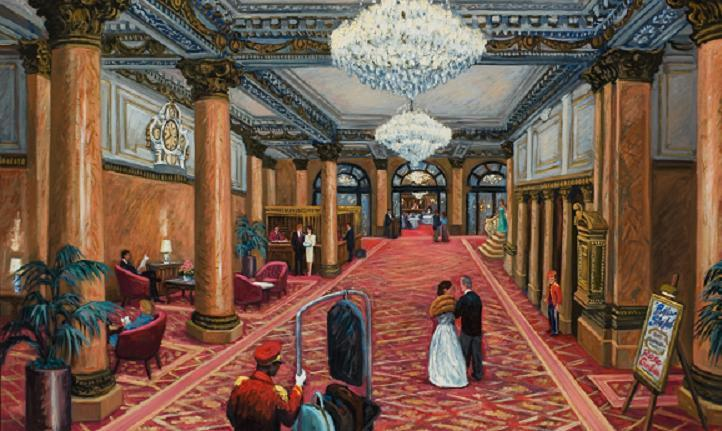 """Bellevue-Stratford Lobby in the 1980's"" 32 x 48"" (sold)"