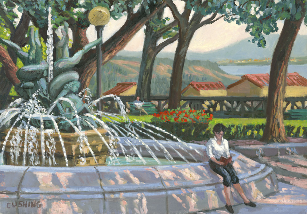 """A Fountain in Cortona, Italy""  19 x 27"" $1750.00"