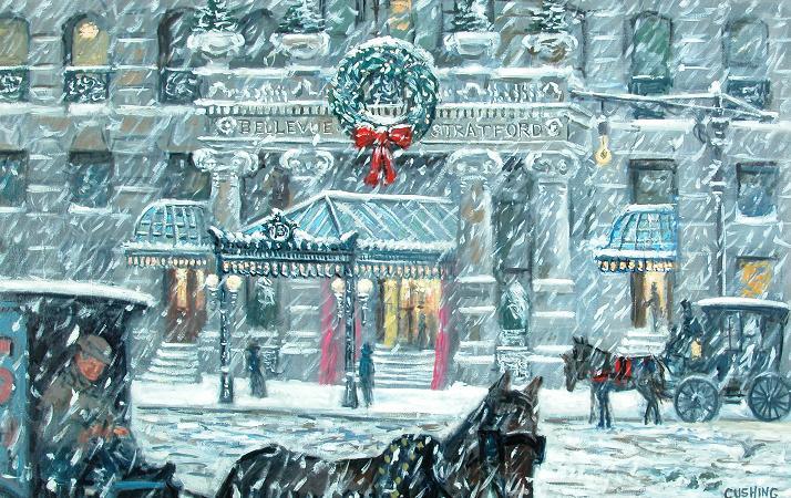 """Christmas, Bellevue-Stratford Hotel, Circa 1910"" 32 x 52""  $3500.00"