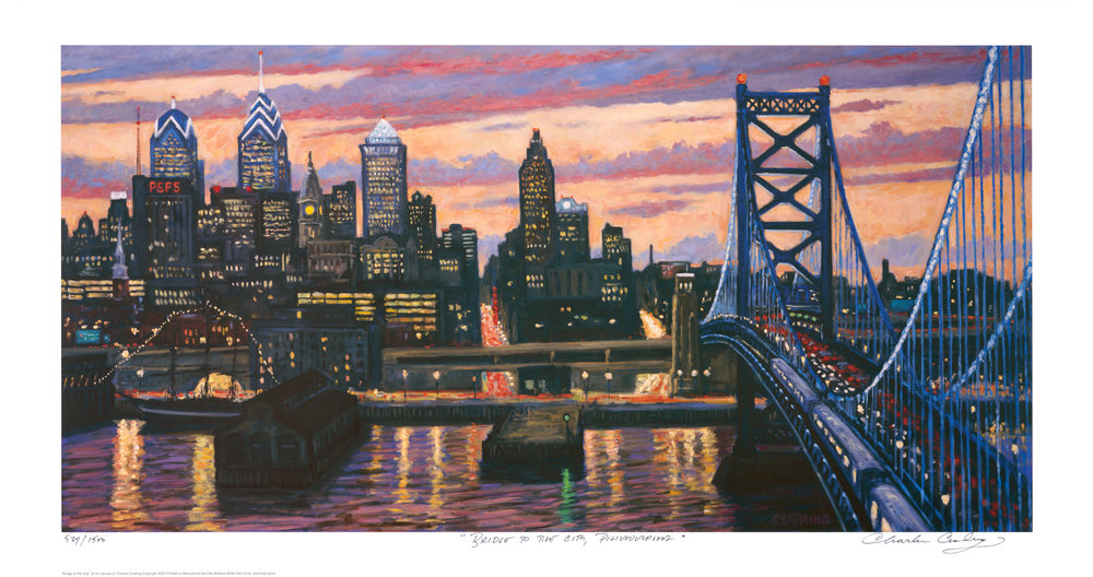 """Bridge to the City, Philadelphia""  19 x 35""  $50.00"