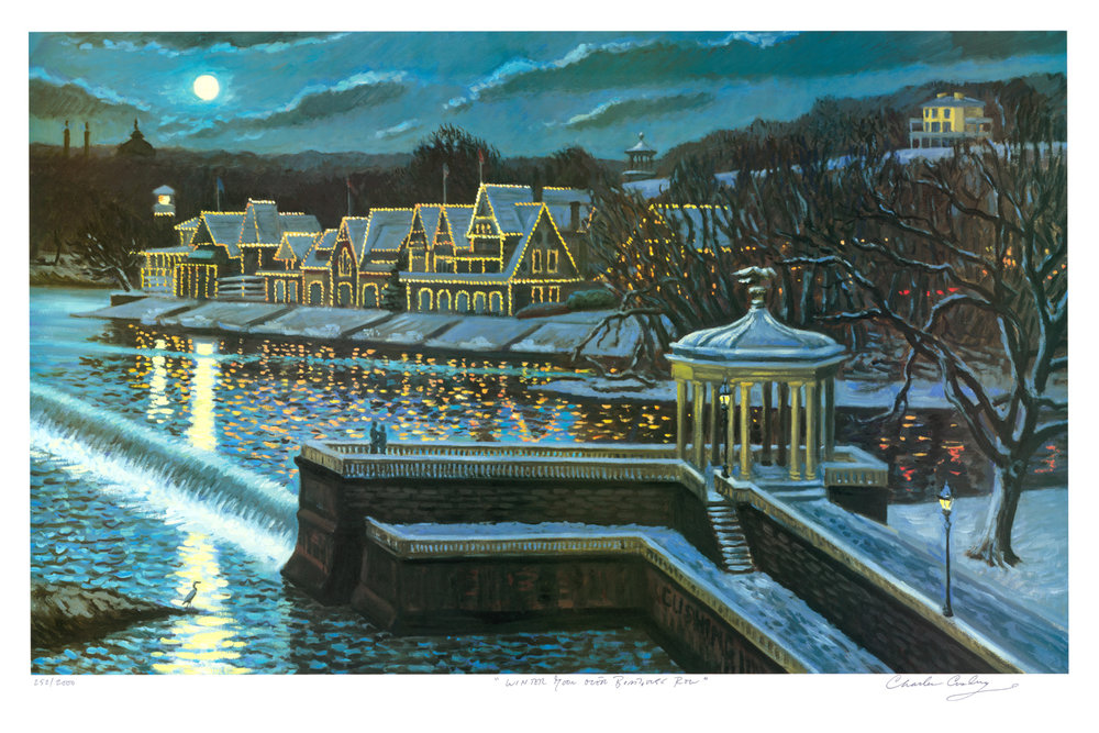 """Winter Moon Over Boathouse Row""  24 x 36""  $50.00"