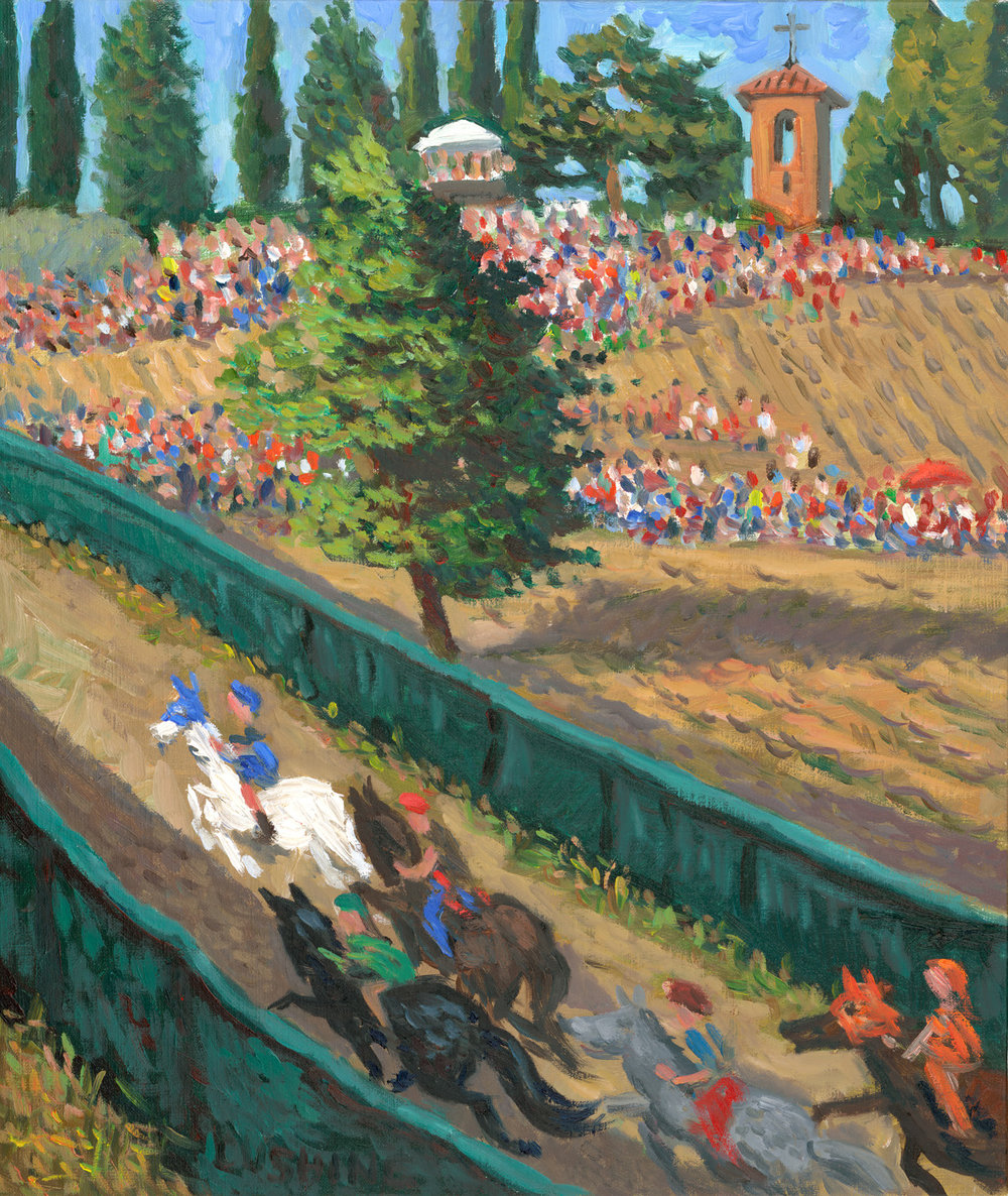 "painted from life during a ""palio"" (horse race) in a small Tuscan town. The horses were painted from an impression that was based on observing them for about two seconds!"
