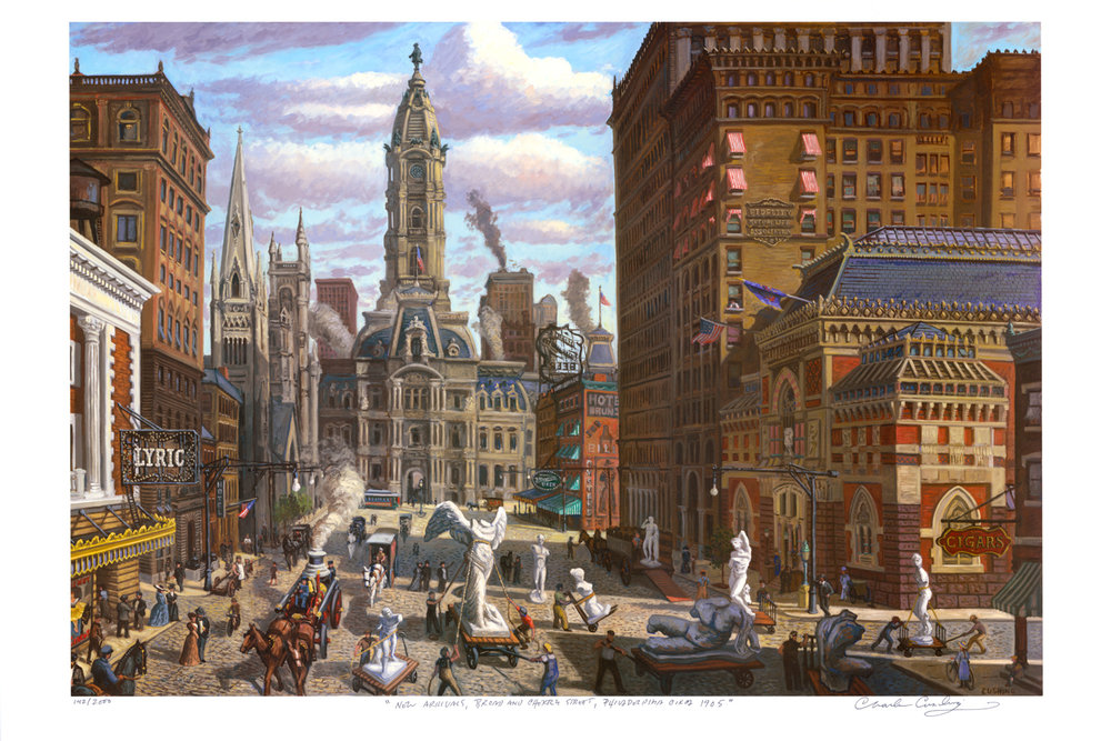 "my NEW PRINT: ""New Arrivals, Broad and Cherry Street, Philadelphia Circa 1905."" 24 x 36"" $50.00"