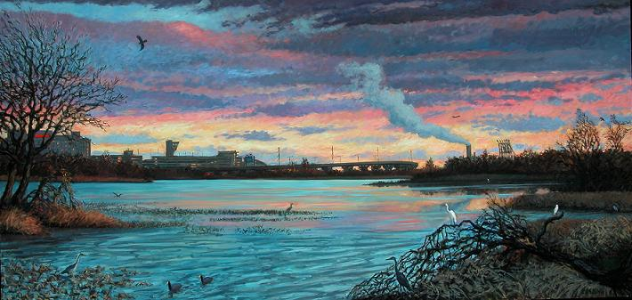 """Dying Rays, Tinicum Marsh""  60 x 120""  (sold)"