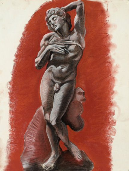 A cast drawing (Michelangelo's 'Dying Slave') from first year at PAFA, 1984, black and red conte white white chalk on paper.