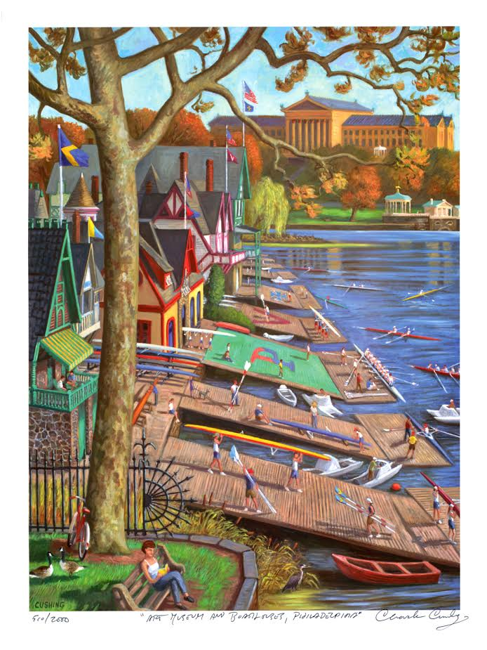 """Boathouses and Art Museum, Philadelphia""  24 x 18"" $40.00"