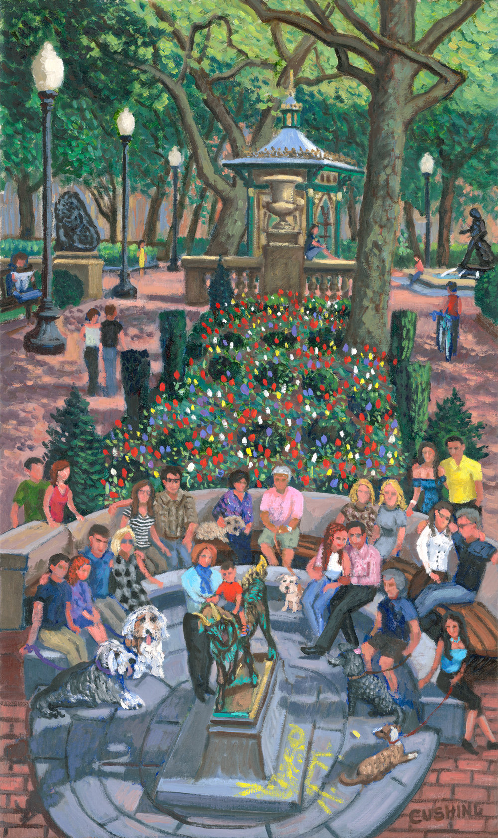 """Gathering by the Goat, Rittenhouse Square""  30 x 18"" (sold)"