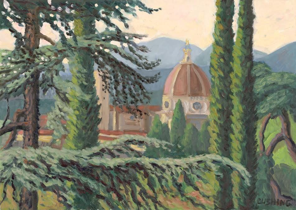 """""""Brunelleschi's Dome Seen Through Cypresses and Pines, Florence, Italy""""  17 x 24""""  $1750.00"""