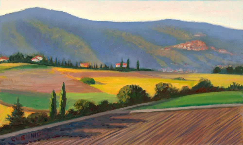 """Cortona from the Val di Chiana""""  12 x 20""""  (sold)"""