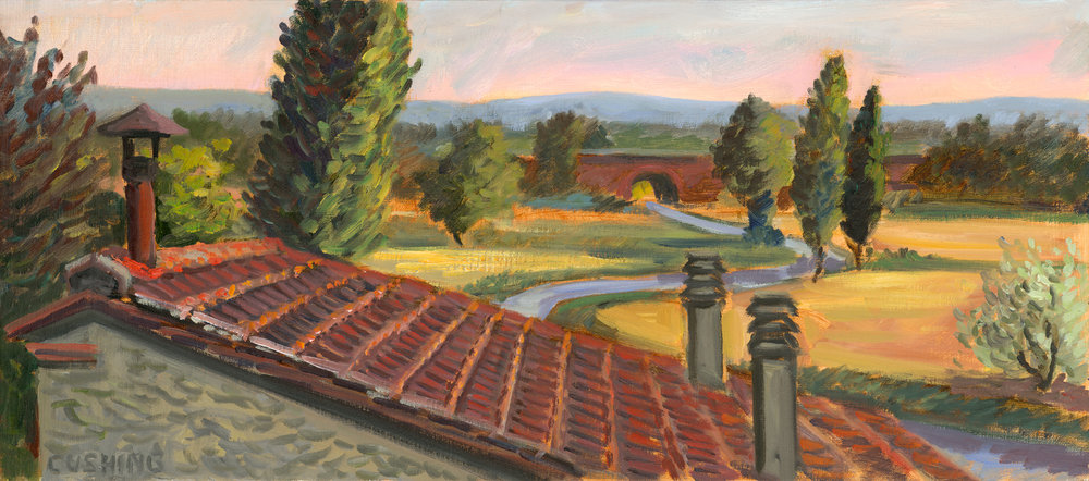 """Vitiano Landscape with Roof"" 12 x 27"". $750.00"