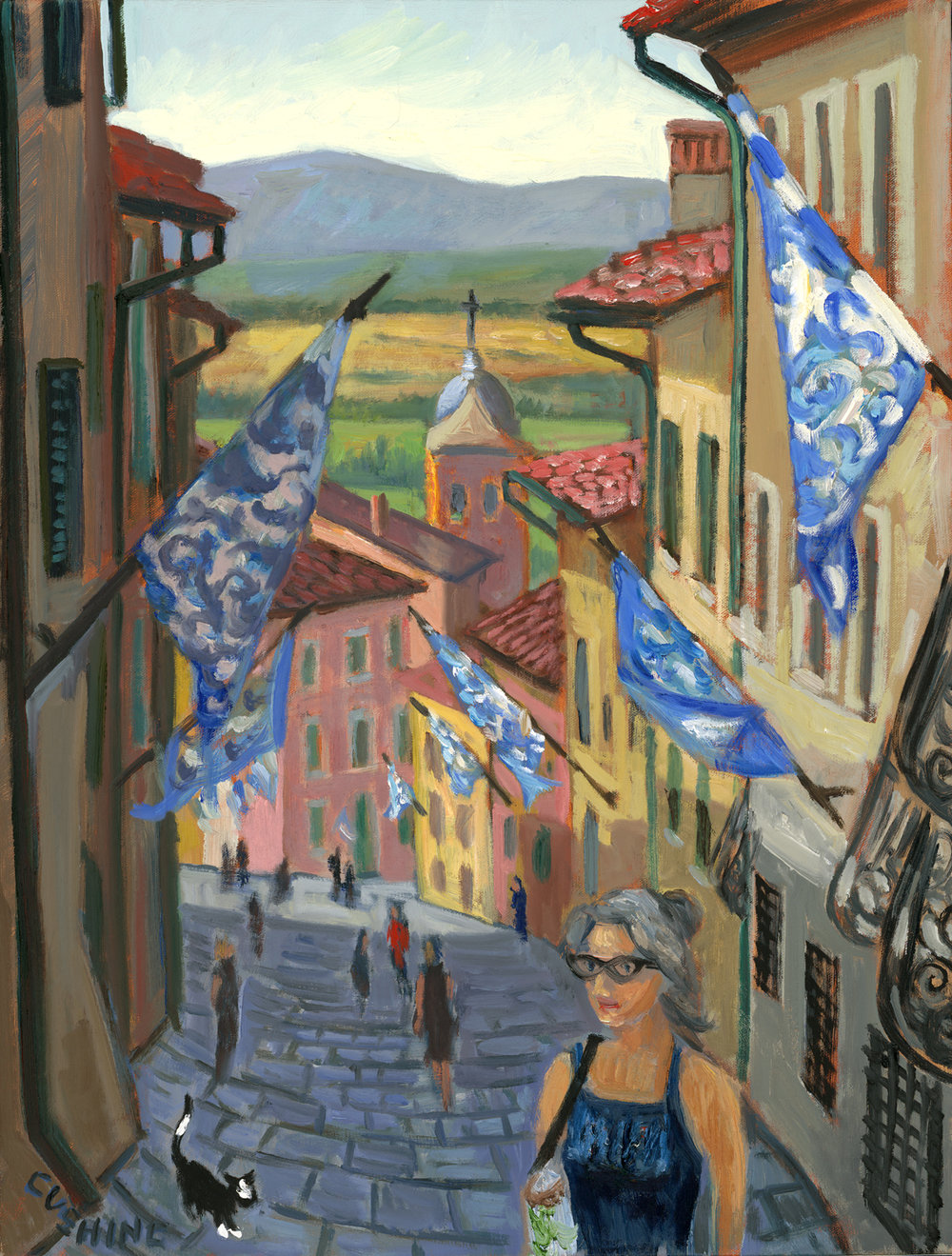 """Woman and Cat, Montepulciano""  21 x 16""  $950.00"
