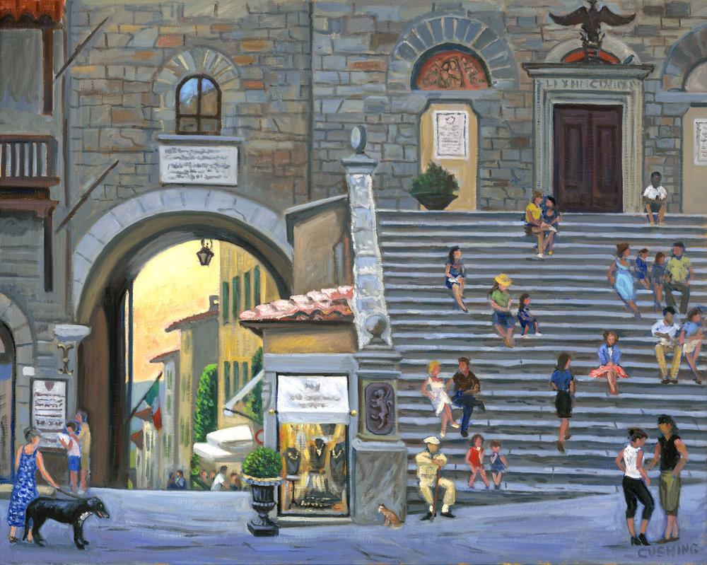 """""""Staircase, Piazza Della Republica, Cortona""""   24 x 30""""  $3,000.00"""