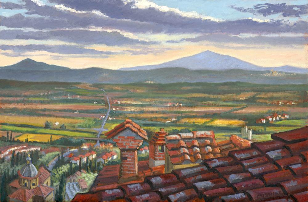 """""""Cortona Rooftops with the Valdichiana""""  24 x 36""""  $3,000.00"""