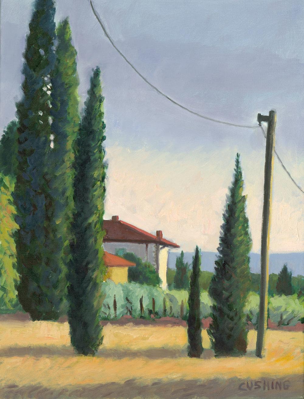 """Cypresses and Villa, Vitiano""  21 x 16""  $950.00"