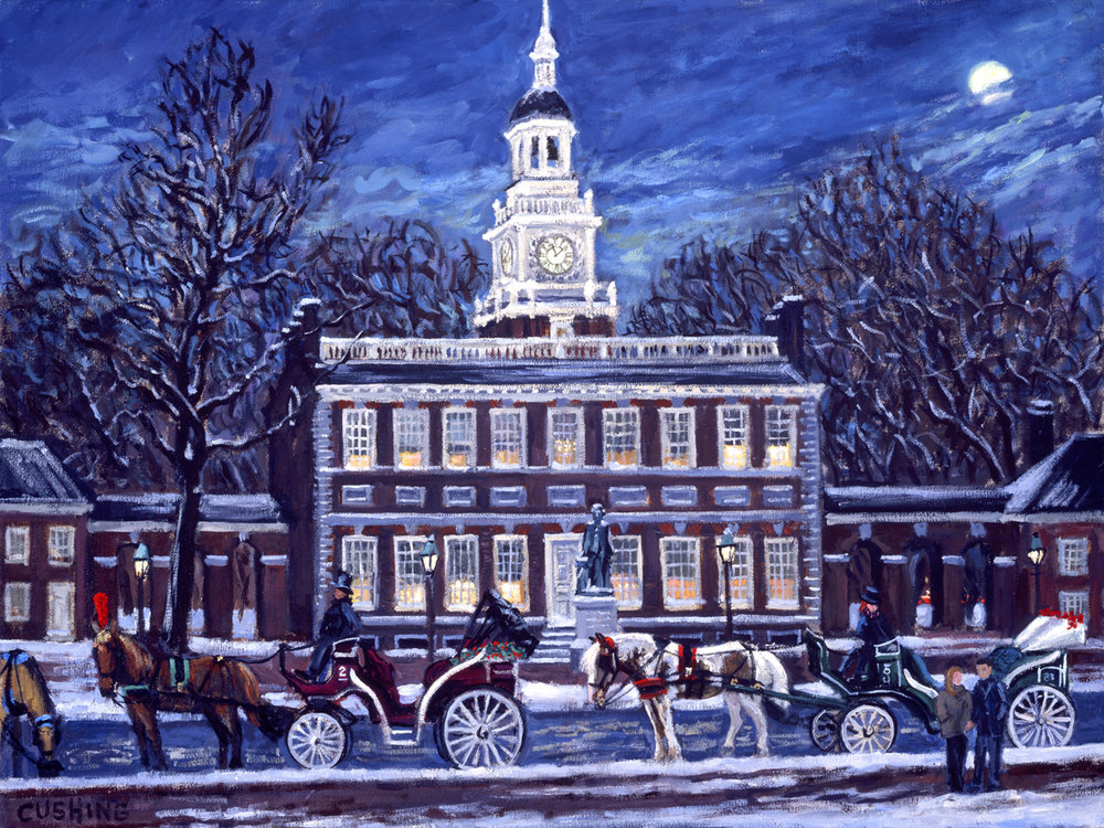 """Winter, Independence Hall"" 24 x 30""  (sold)"