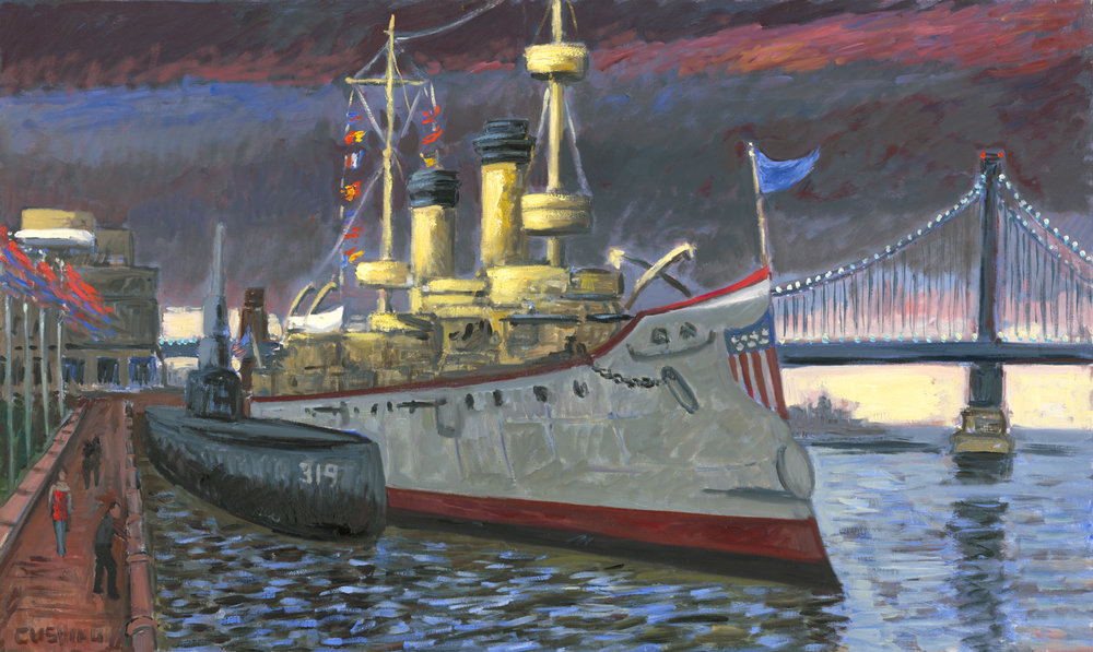 """The 'Olympia,' Penn's Landing"". 32 x 52. $3500.00"