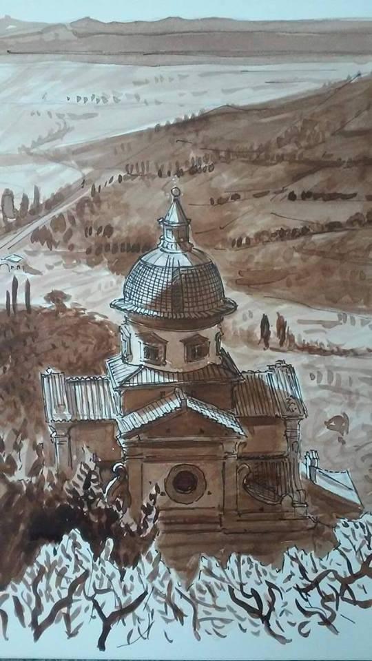 """""""Santa Maria Nuova, Cortona, Italy"""" (sepia ink wash drawing, approx. 12 x 9"""")  $500.00 (framed)"""