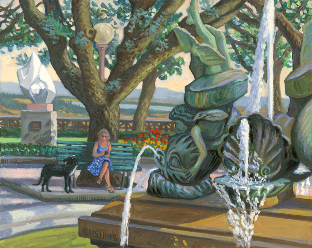 """Woman and Dog by the Fountain, Cortona, Italy"" .  24 x 30""  $3500.00"