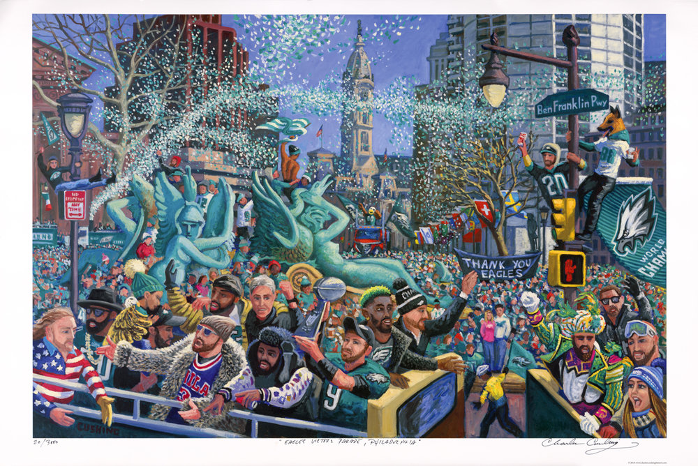 "Hot off the press! My  ""Eagles Victory Parade""  painting is available as a 24 x 36"" offset lithograph on 100 lb paper, signed, titled, and numbered in my hand beneath the image (see photo of the print itself). This image is ALSO available as a high-quality ""giclee"" canvas print in four sizes; 18x 27"" ($250.00), 24 x 36"" ($350.00), 32 x 48"" ($500.00), 40 x 60"" ($800).These are prices for unmounted and unframed print, shipped rolled in a tube shipping is $10.00 extra. I also offer mounting and framing options, and special sizes. Click on STORE page to order or call me for details at 267-679-7853."