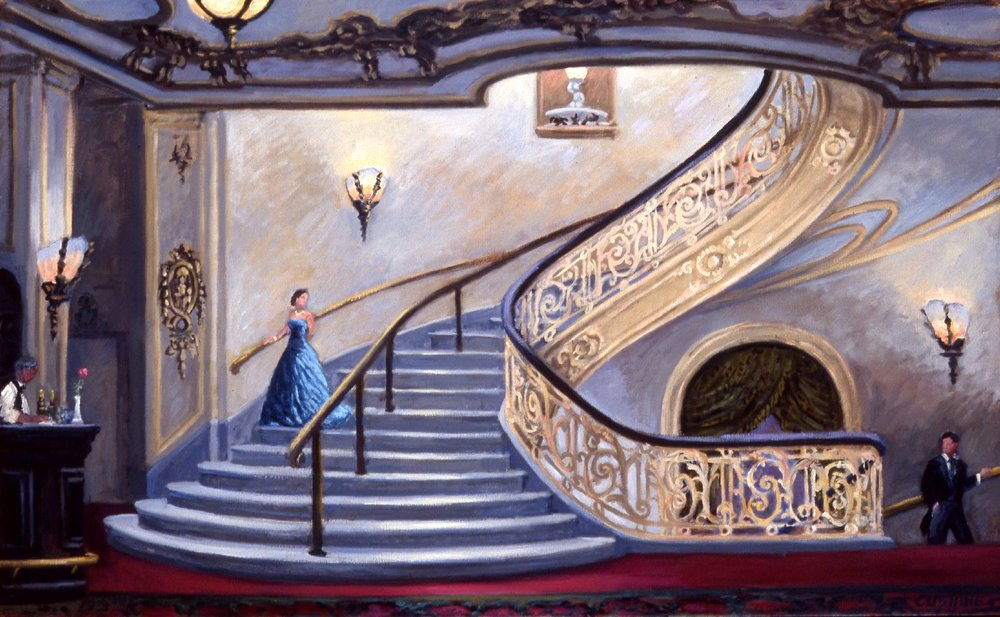 """Ascending and Descending, Bellevue-Stratford Hotel""   30 x 42""  (sold)"