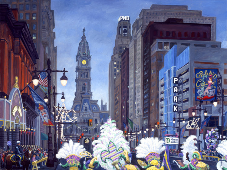 """""""South Broad Street with Mummers""""   48 x 72""""  (sold)"""