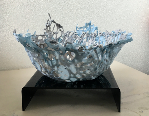 Linda Frueh, Splash Vessel, encaustic and cotton, 18″ x 9″.