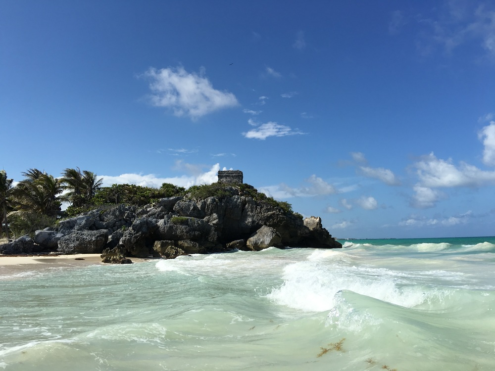 A major structure at Tulum, as seen from the water.