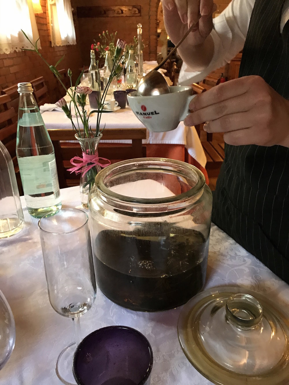 The waitress came around with several kinds of house-made grappa served in our coffee cups.