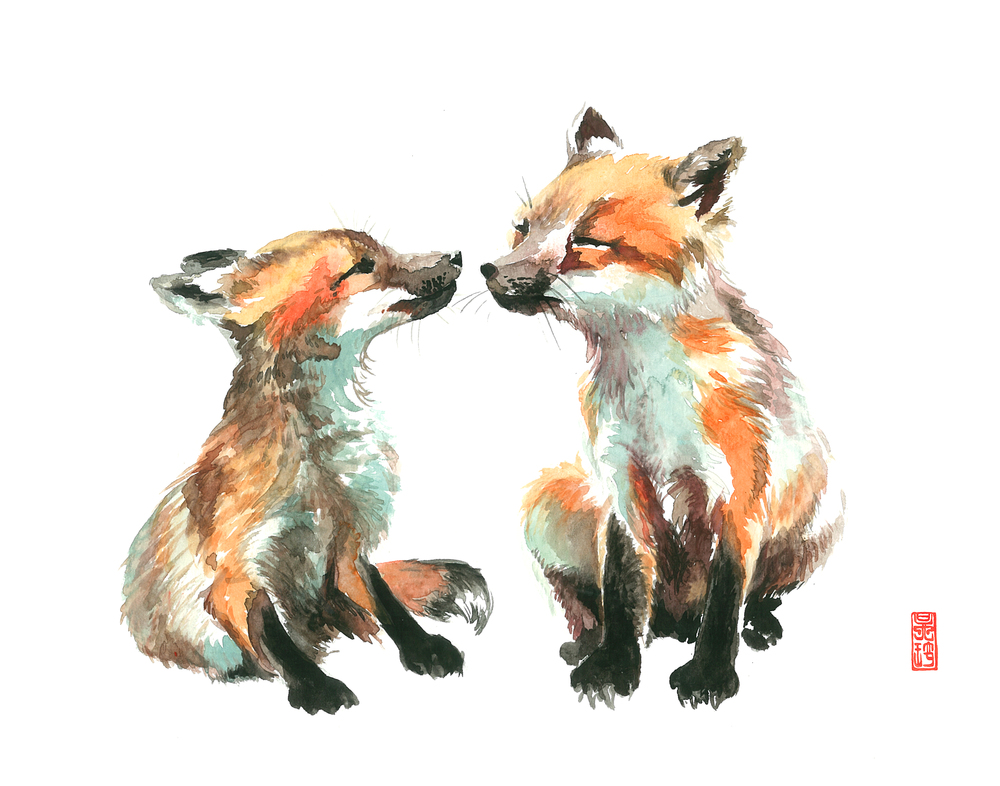 Kissing Foxes 11x14.jpg