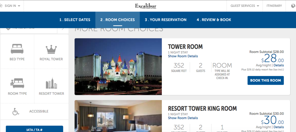 A $28 a night advertised room with a $29.12 mandatory resort fee.