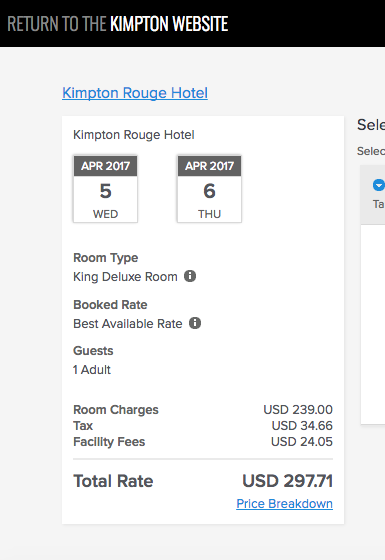 THE TAX AND FACILITY FEE IS TAKEN OUT OF ANY COMPARISON SEARCH - EXPEDIA, HOTWIRE, HOTEL TONIGHT - BUT WE WERE ABLE TO FIND THE SNEAKY FACILITY FEE AFTER MULTIPLE PAGES IN THE BOOKING PROCESS DIRECT ON THE KIMPTON SITE