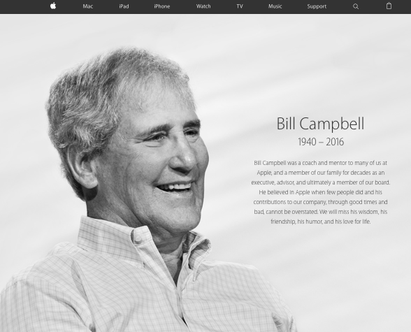 Bill Campbell on the Apple.com homepage. April 19, 2016. Image ©Apple, Inc.