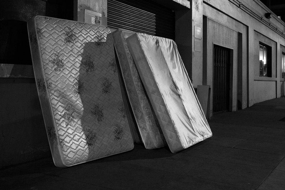 Mattresses in alley, San Francisco
